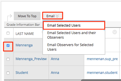 Send email to multiple users in grade center